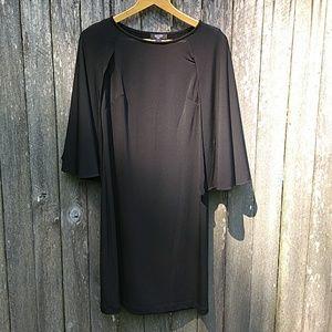 {Suzy Chin} Black Cape Shift Dress